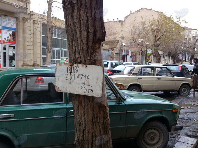 Креативный способ борьбы за чистоту в Баку - МОБИЛЬНЫЙ РЕПОРТЕР – ФОТО